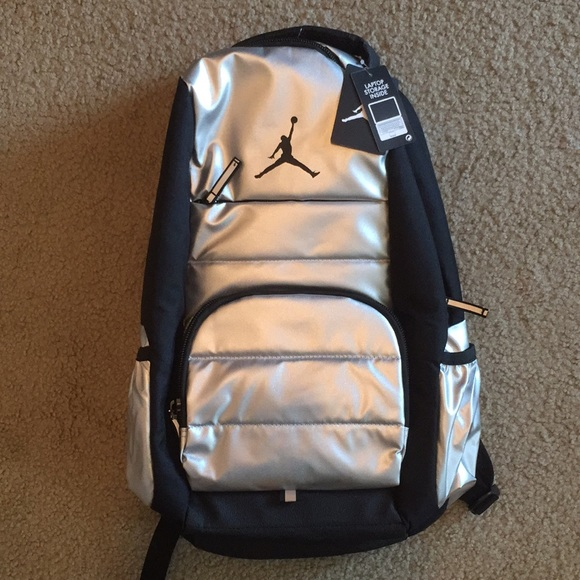 c55eb8f9ed71 NEW Jordan Backpack Black Silver